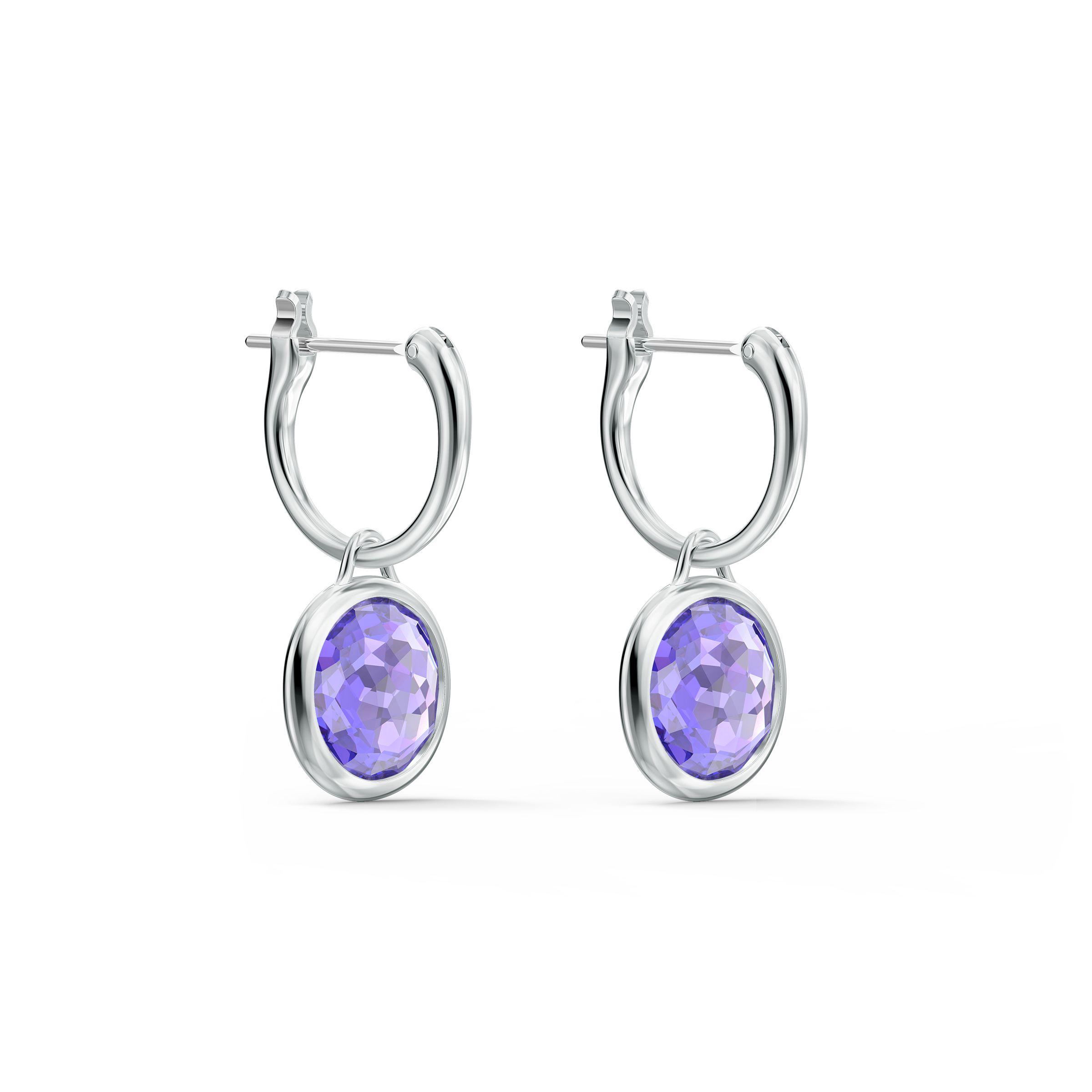 Créoles Tahlia Mini, violet, métal rhodié, Swarovski