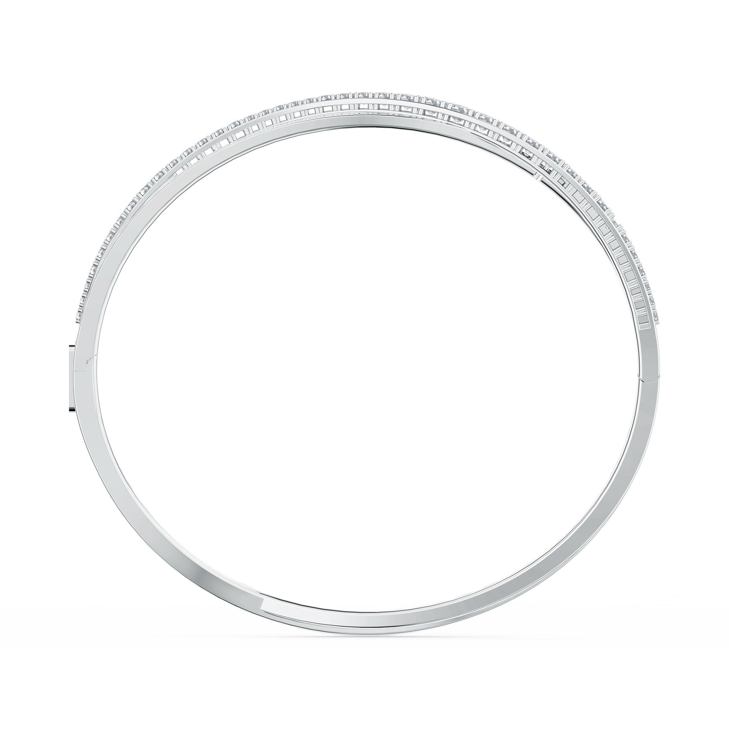 Bracelet Twist Rows, blanc, métal rhodié, Swarovski