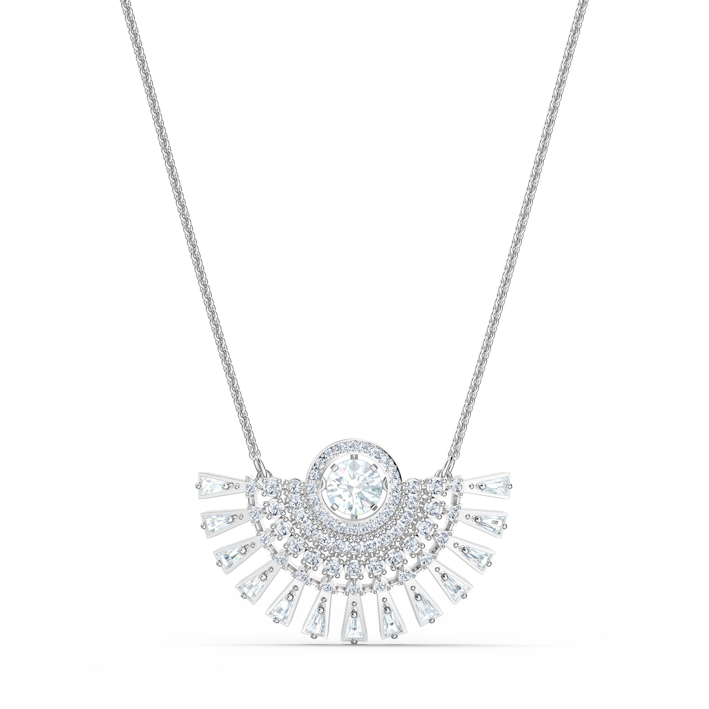 Collier Swarovski Sparkling Dance Dial Up, medium, blanc, métal rhodié, Swarovski