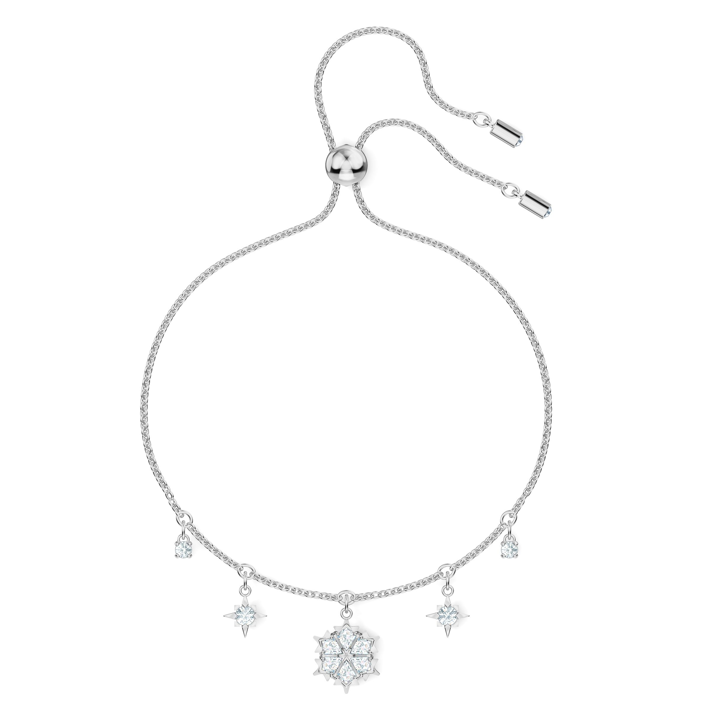 Bracelet Magic, blanc, métal rhodié, Swarovski
