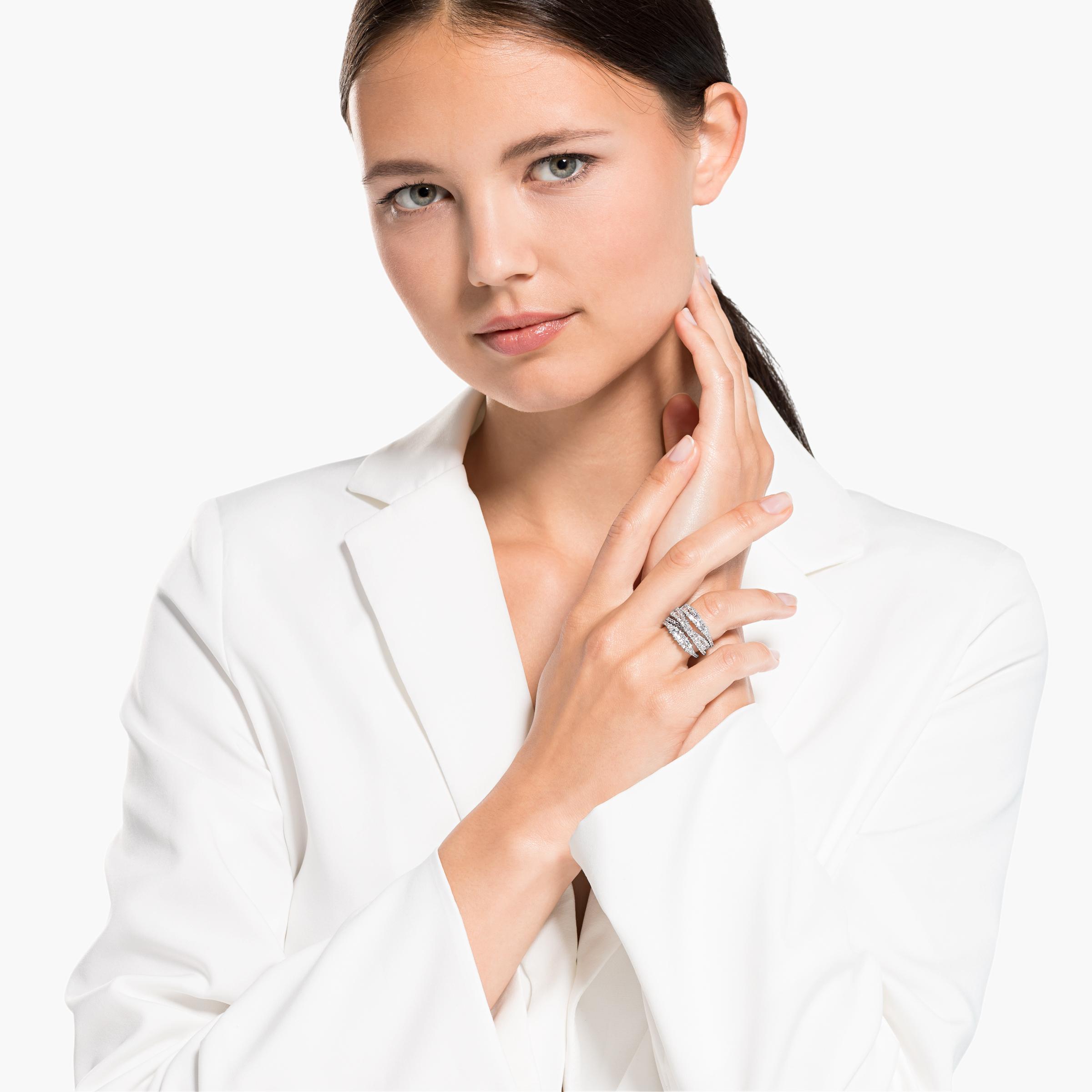 Bague Twist Wrap, blanc, métal rhodié, Swarovski