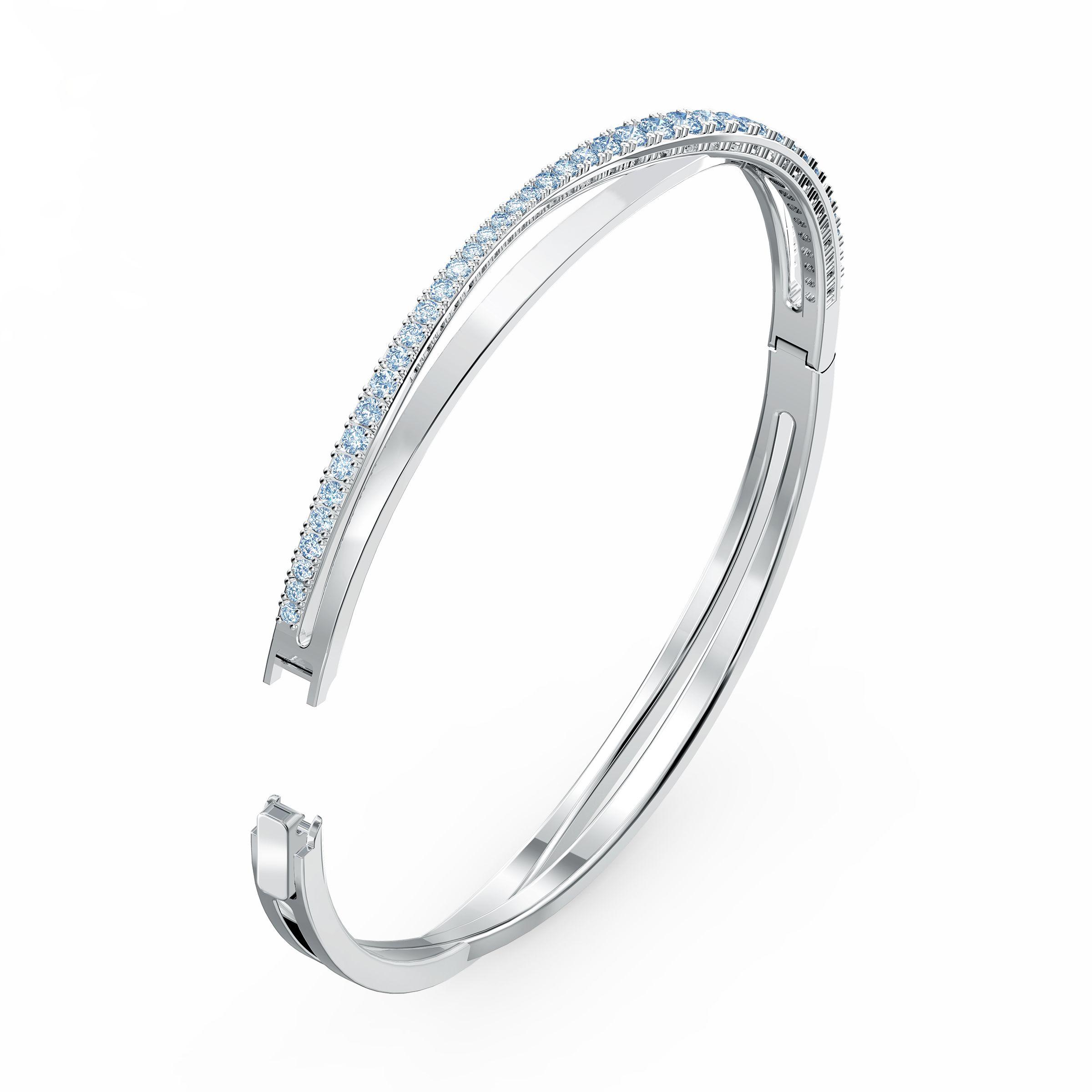 Bracelet Twist Rows, bleu, métal rhodié, Swarovski
