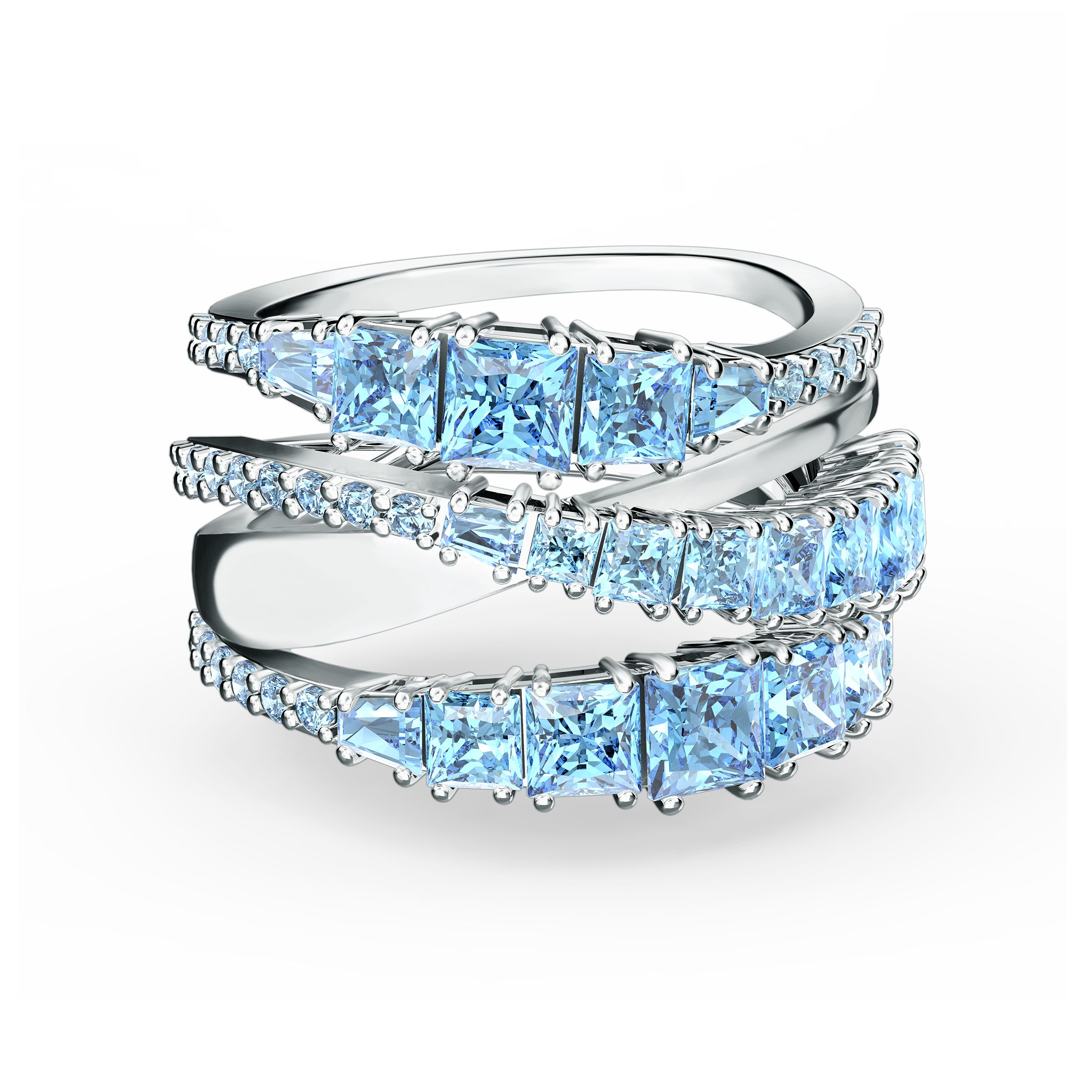 Bague Twist Wrap, bleu, métal rhodié, Swarovski