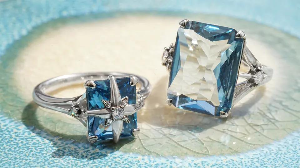 Bague femme, pierre bleue carrée avec étoile, Thomas Sabo