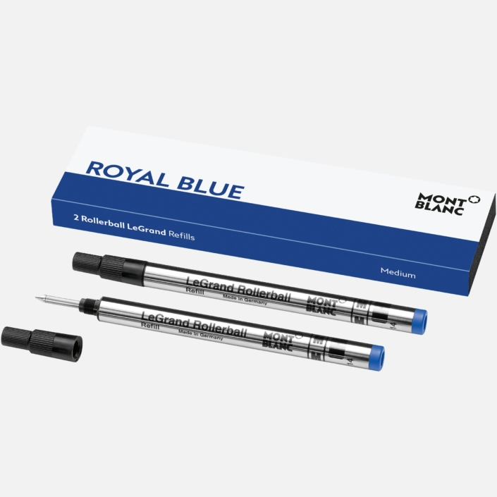 2 recharges pour rollerball LeGrand , Royal Blue, Montblanc