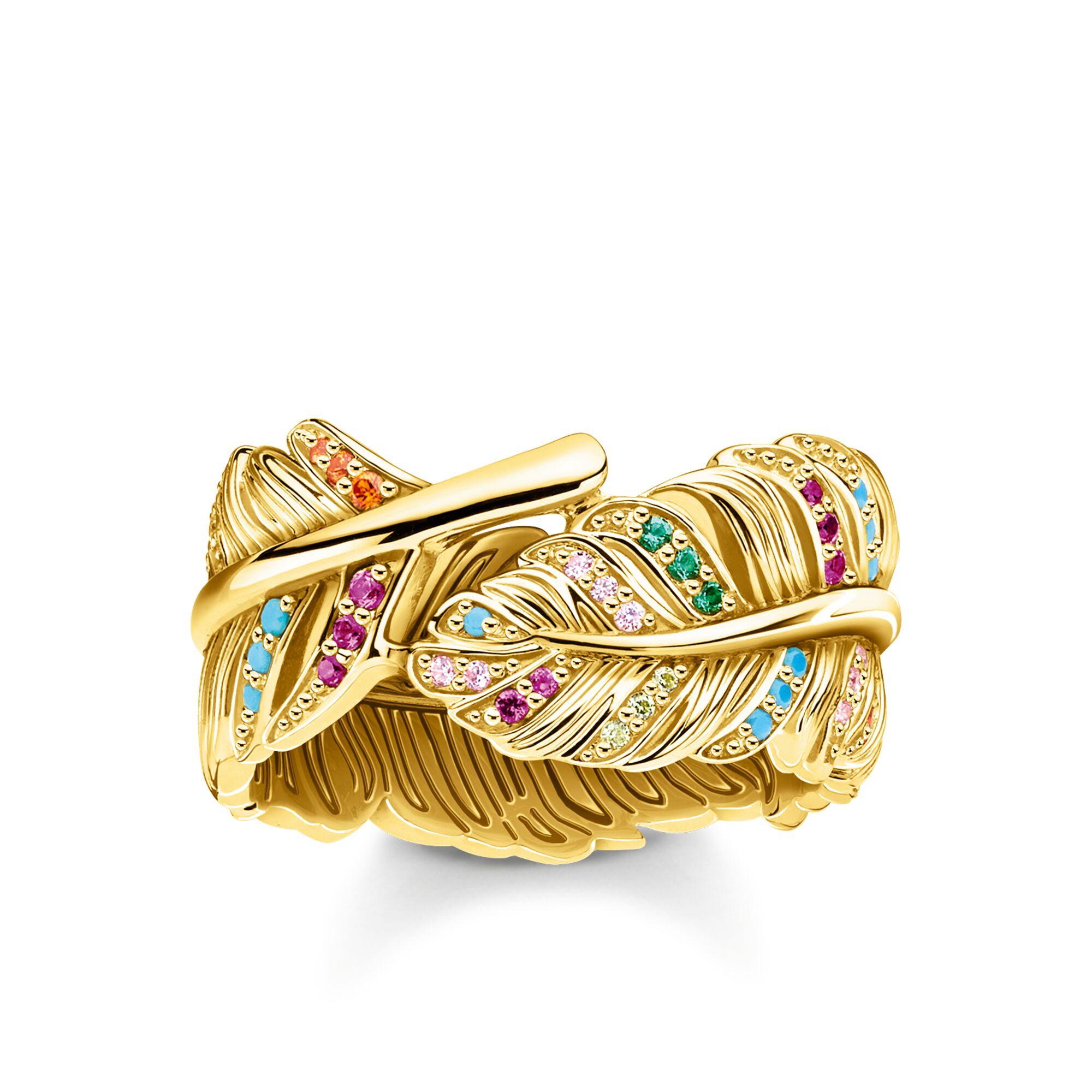 Bague femme, plume or et multicolore, Thomas Sabo