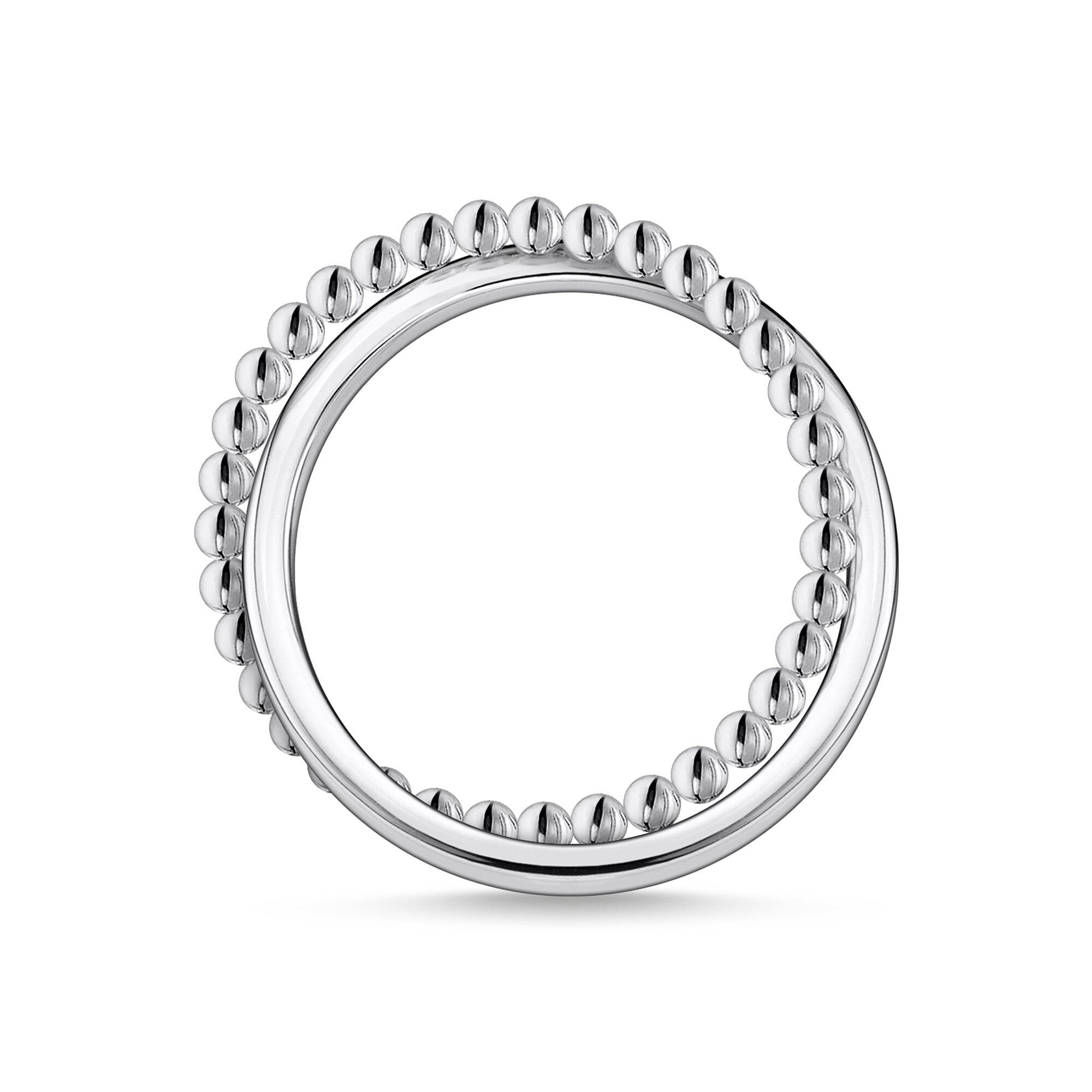 Bague femme, double anneaux entremêlés argent, Thomas Sabo