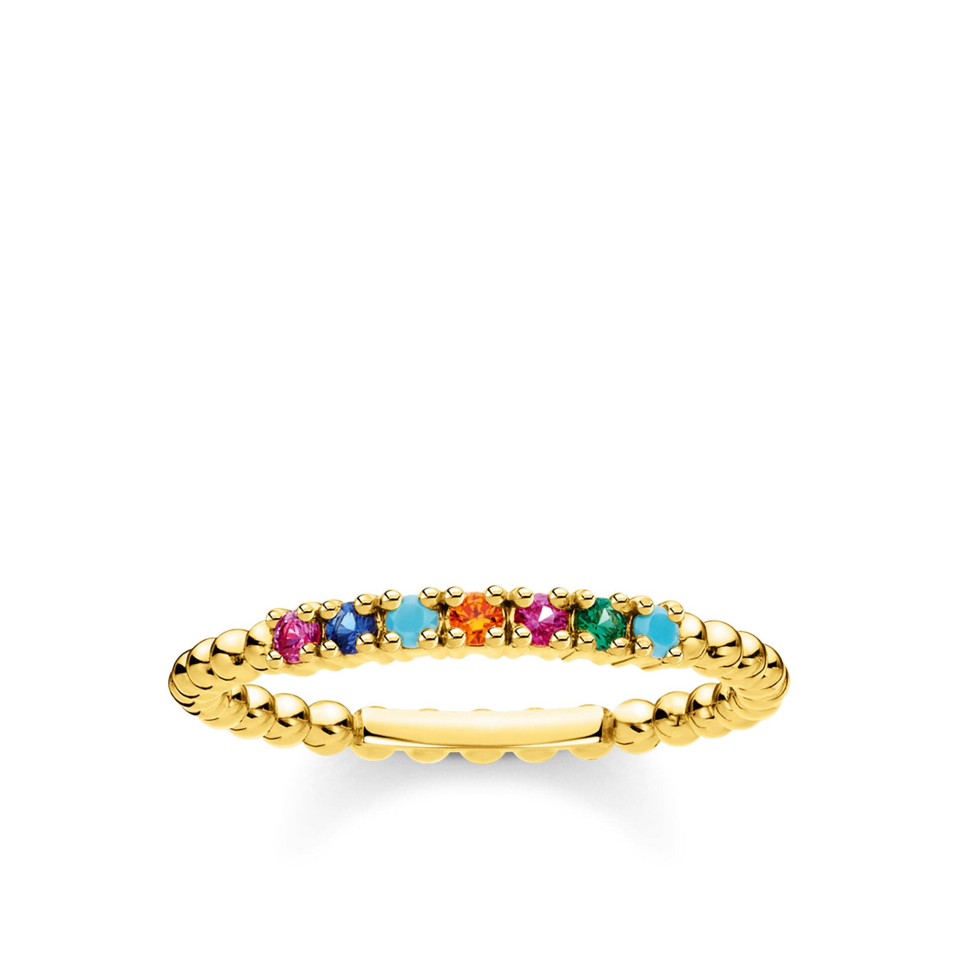 Bague perles pierres multicolores or, Thomas Sabo