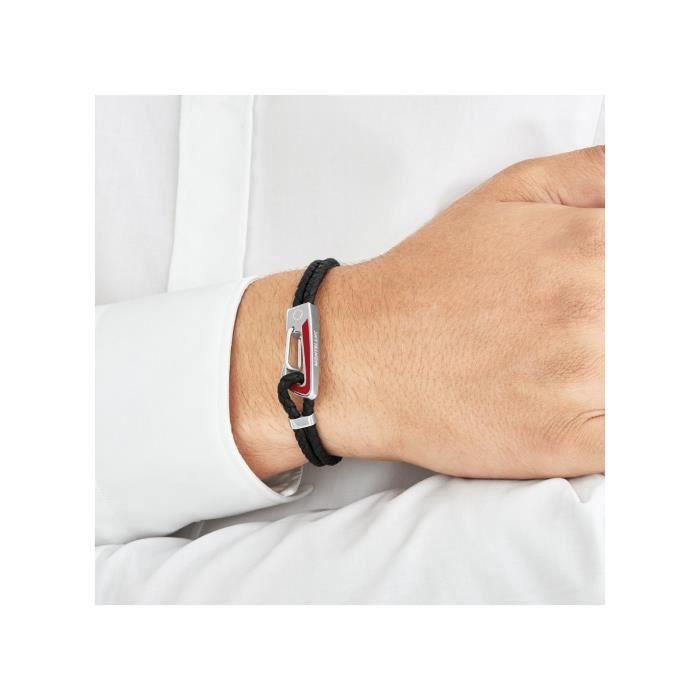 Bracelet homme mousqueton rouge, cuir tressé noir, Montblanc