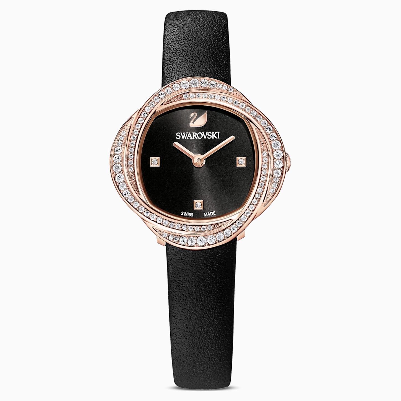 Montre Crystal Flower, bracelet en cuir, noir, PVD doré rose, Swarovski