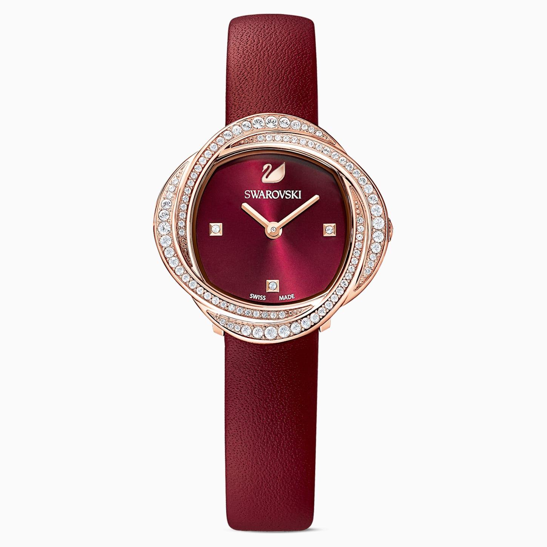 Montre Crystal Flower, bracelet en cuir, rouge, PVD doré rose, Swarovski