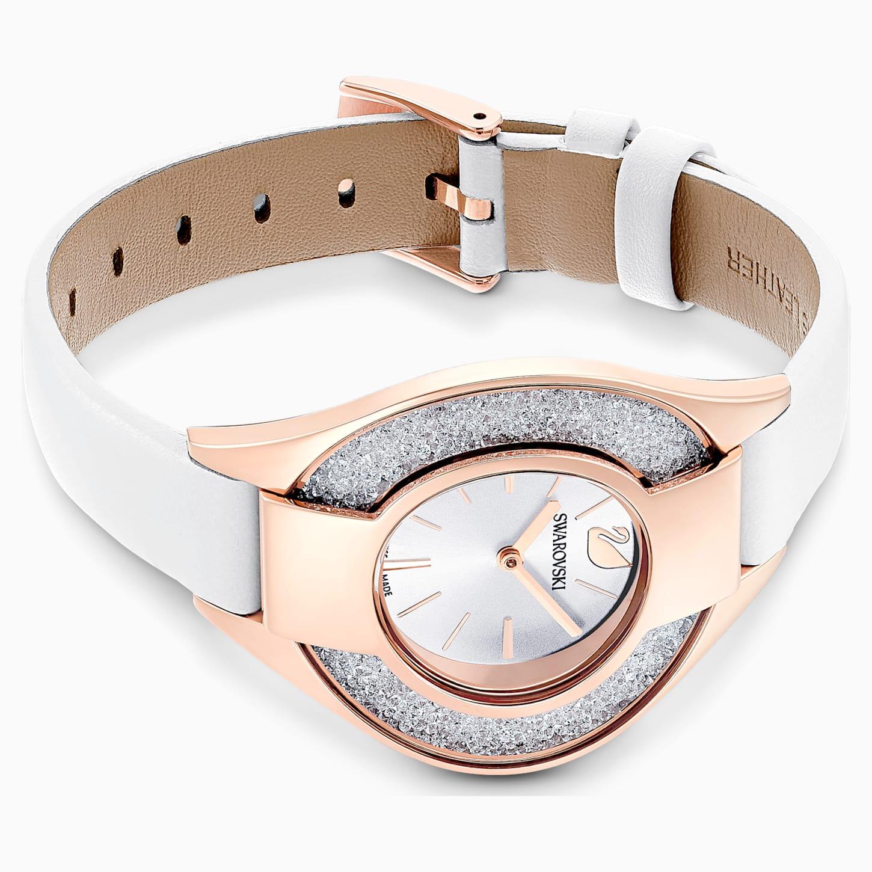 Montre Crystalline Sporty, bracelet en cuir, blanc, PVD doré rose, Swarovski