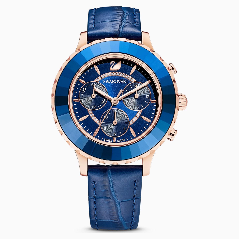 Montre Octea Lux Chrono, bracelet en cuir, bleu, PVD doré rose, Swarovski