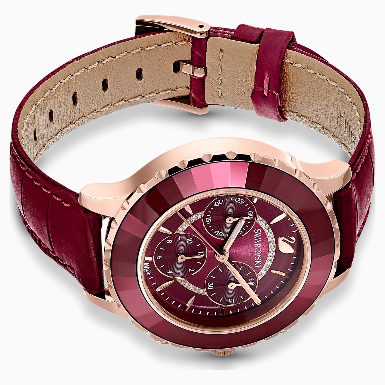 Montre Octea Lux Chrono, bracelet en cuir, rouge, PVD doré rose, Swarovski