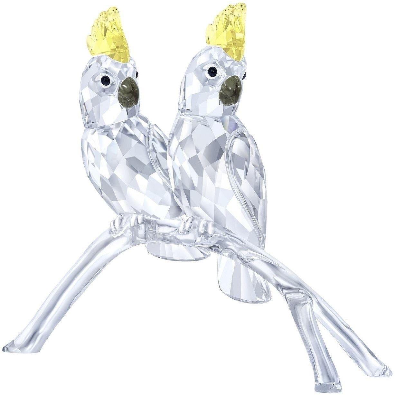 Cristal Swarovski Figurine Paire De Oiseaux Cacatoès, Swarovski