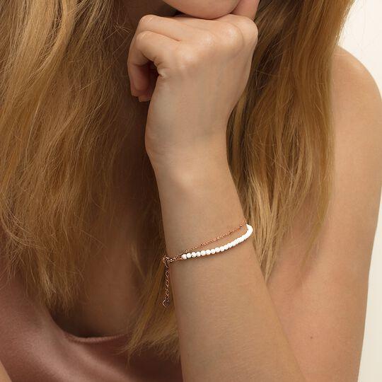Bracelet Chakra blanc et rosé, femme, Thomas Sabo
