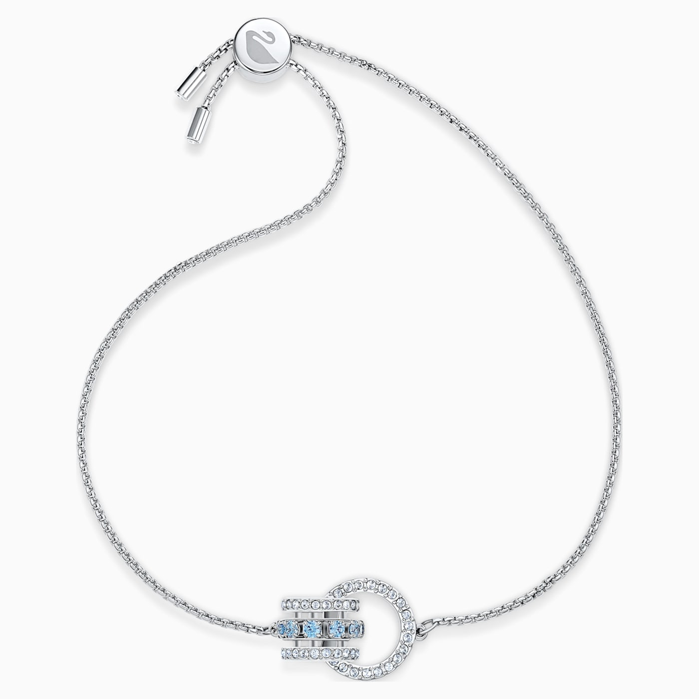 Bracelet Further, Bleu, Métal rhodié, Swarovski