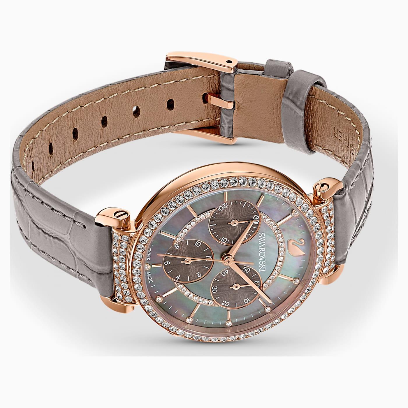 Montre Passage Chrono bracelet en cuir, Gris, PVD doré rose, Swarovski