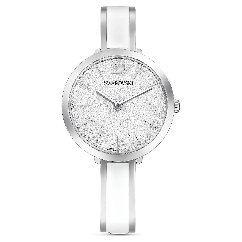 Montre Crystalline Delight, bracelet en métal, blanc, acier inoxydable, Swarovski