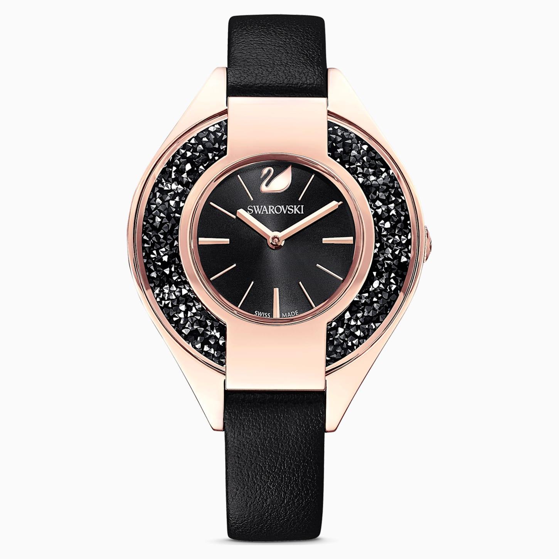 Montre Crystalline Sporty, bracelet en cuir, noir, PVD doré rose, Swarovski