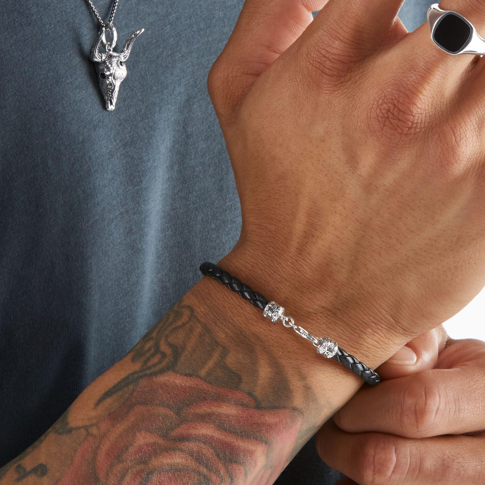 Bracelet en cuir tressé noir, Thomas Sabo
