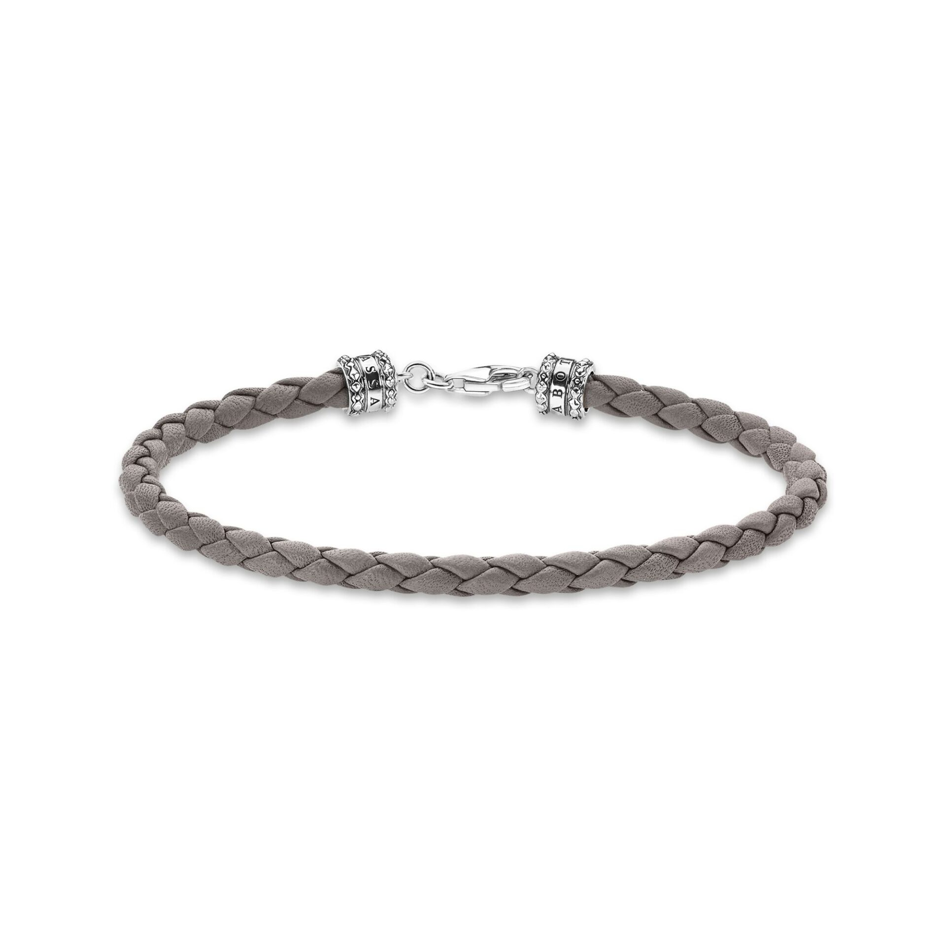 Bracelet en cuir tressé gris, Thomas Sabo