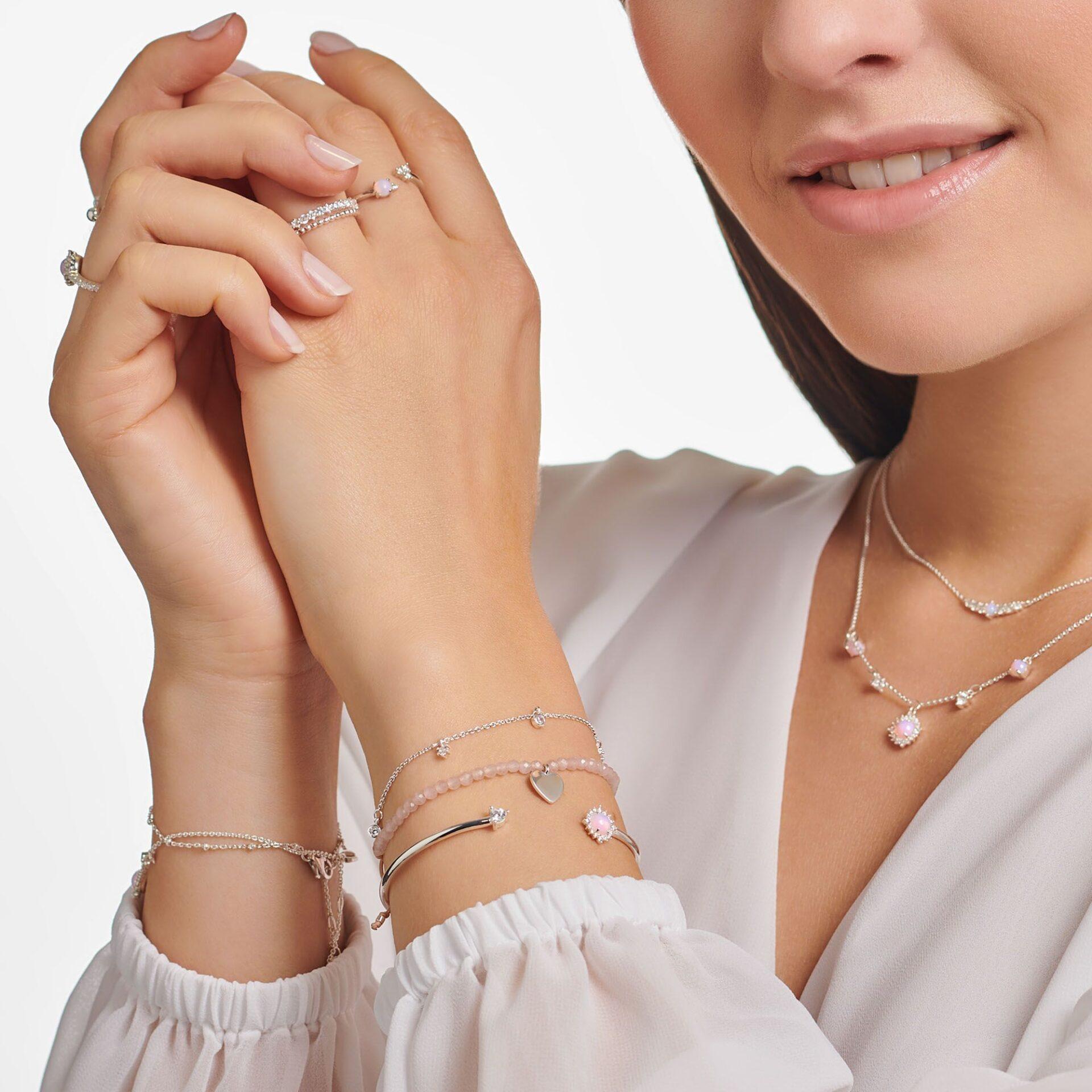Bracelet jonc vintage, pierres blanches et opal, argent, Thomas Sabo