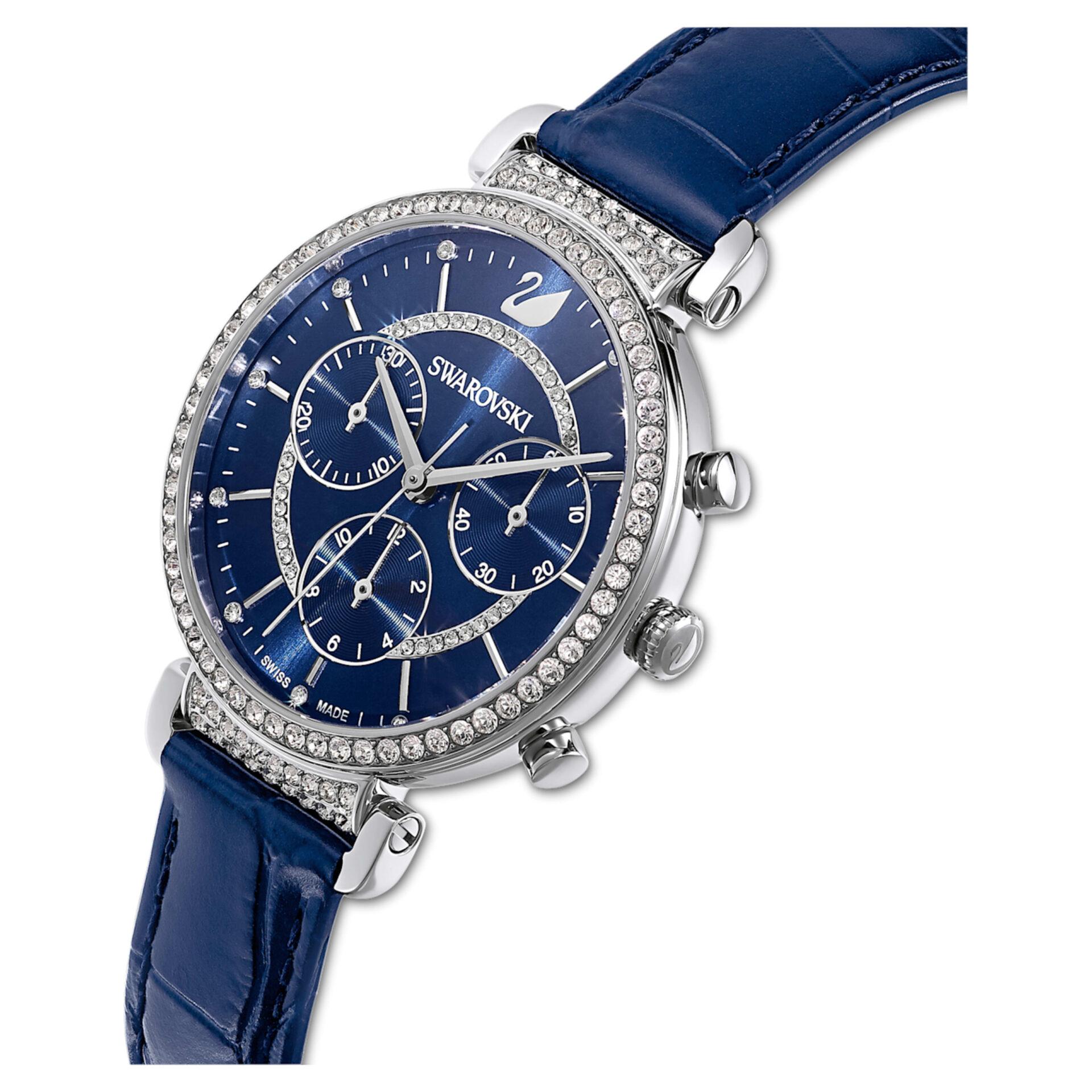 Montre Passage Chrono, bracelet en cuir, bleu, acier inoxydable, Swarovski