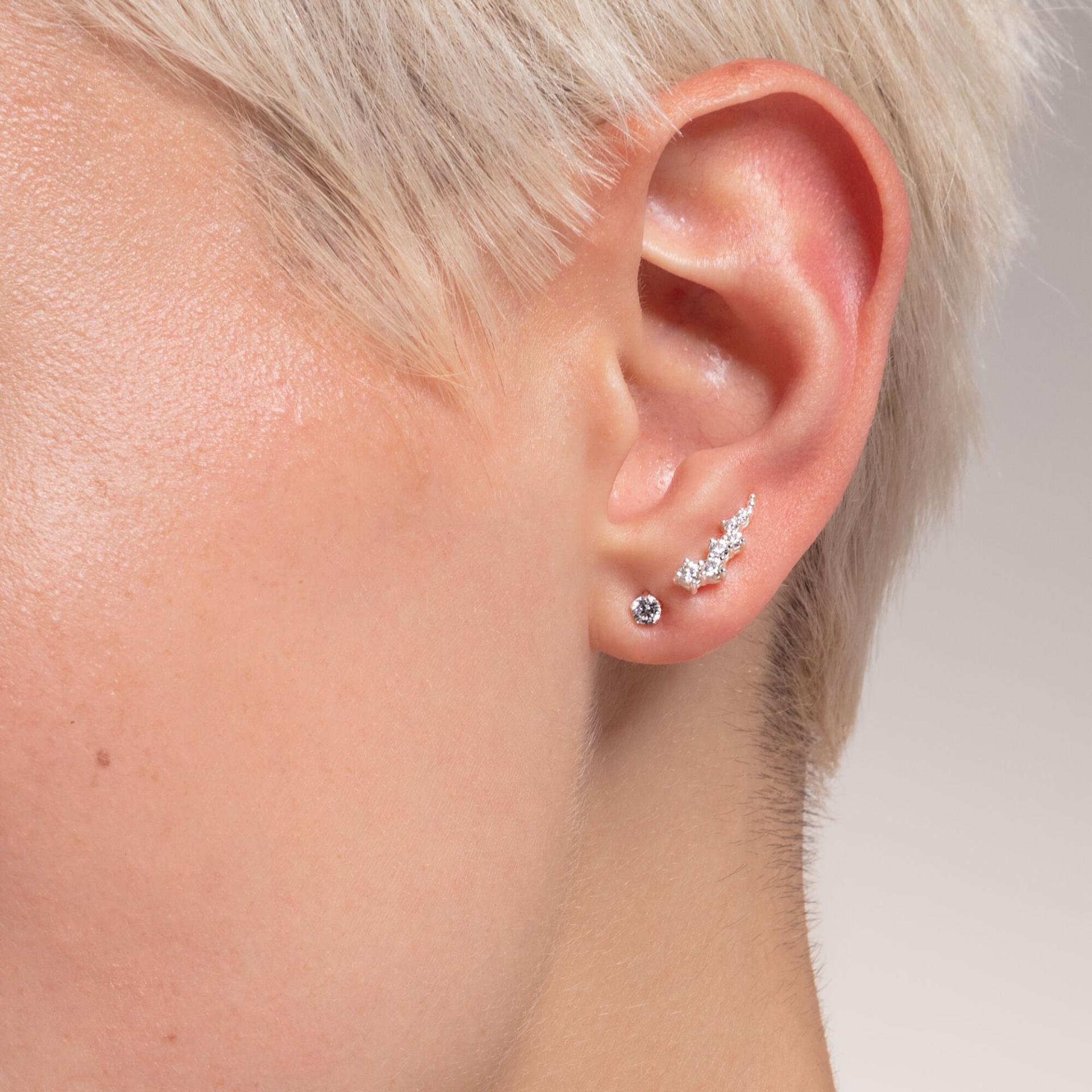 Clou d'oreille unique, pierre blanche et argent, Thomas Sabo