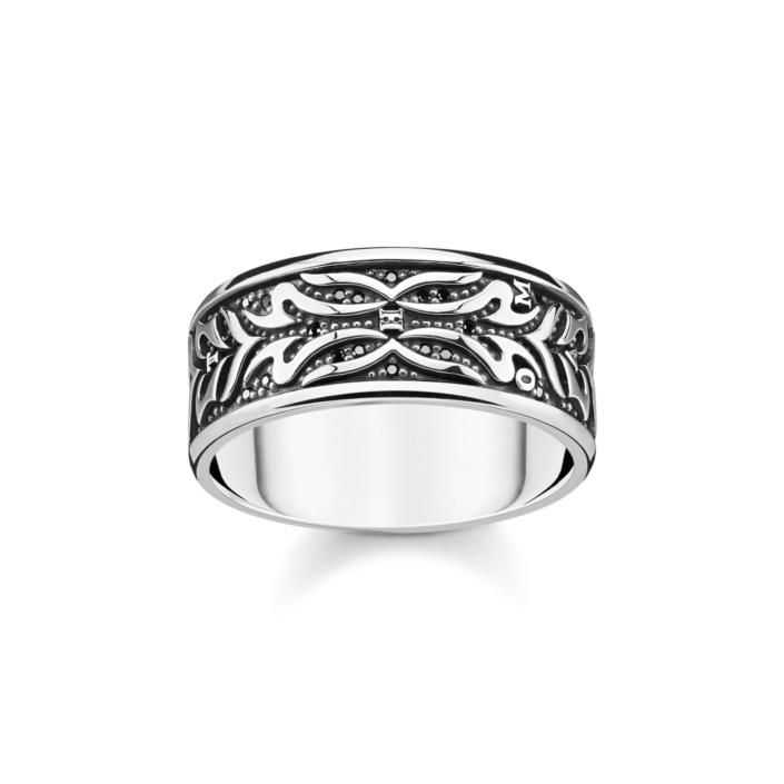 Bague anneau pelage de tigre, argent et noir, Thomas Sabo