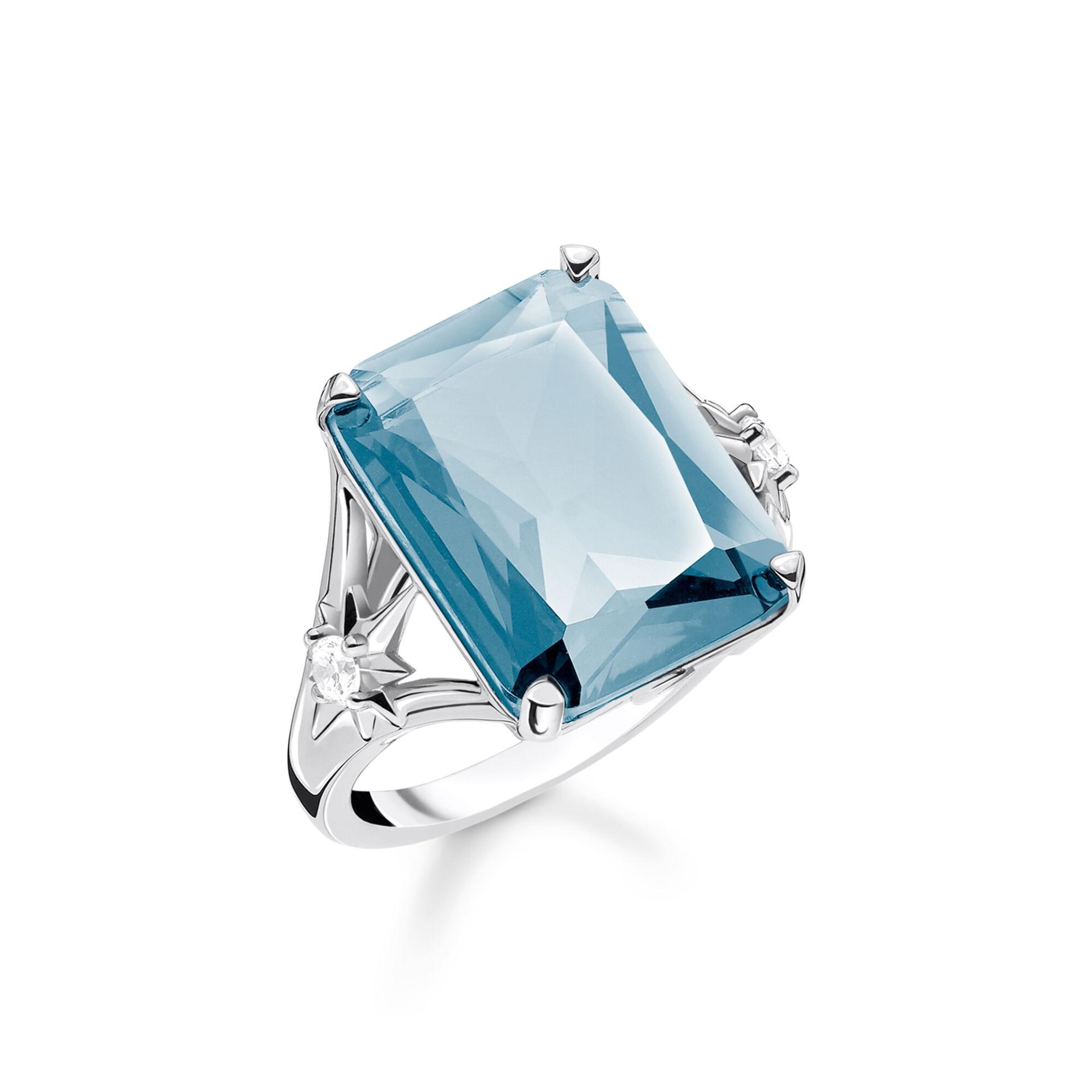 Bague femme, grande pierre rectangle bleue et argent, Thomas Sabo