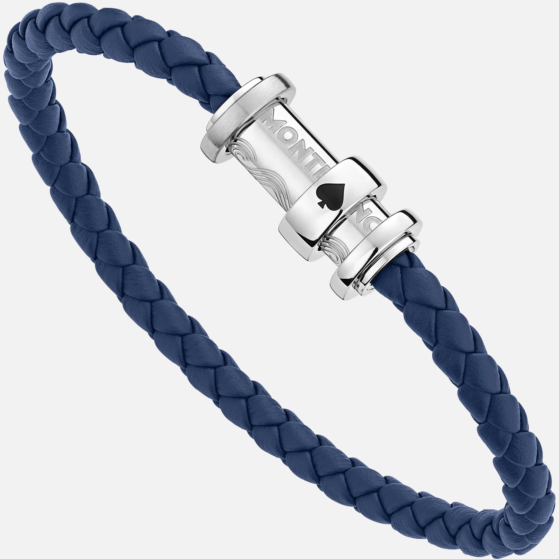 Bracelet Meisterstück Le tour du monde en 80 jours, pique, cuir bleu, Montblanc
