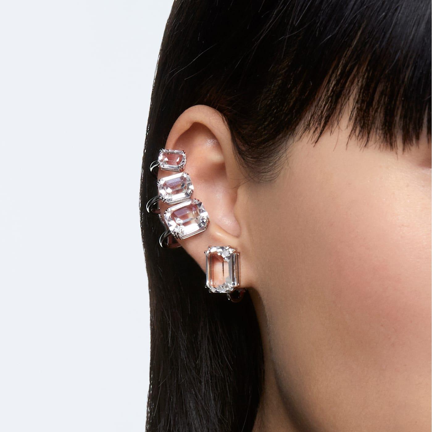 Boucle d'oreille à clipper Mesmera Mono, Cristal taille octogonale, Blanc, Métal rhodié, Swarovski