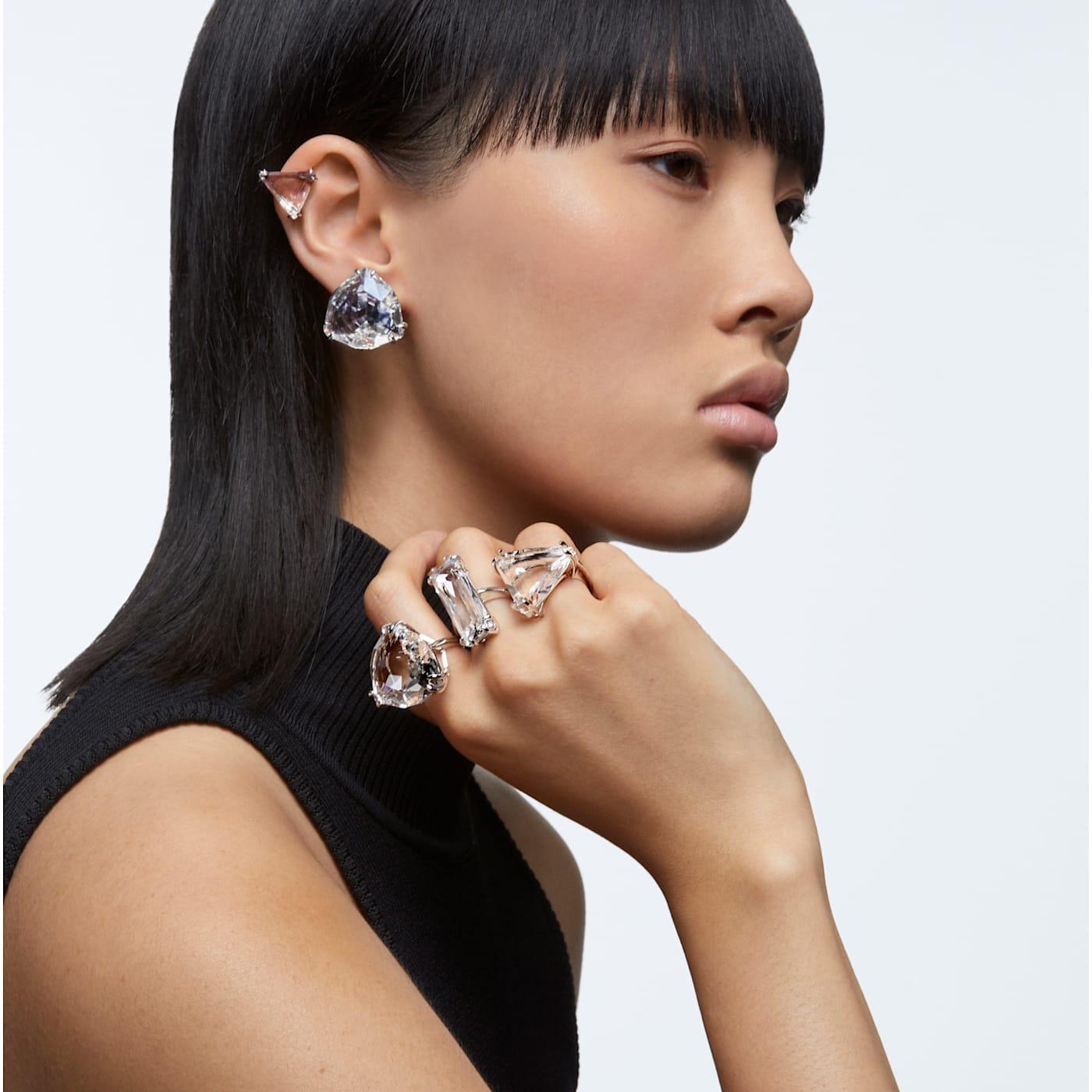 Boucle d'oreille à clipper Mesmera Mono, Cristal taille triangle, Blanc, Métal rhodié, Swarovski