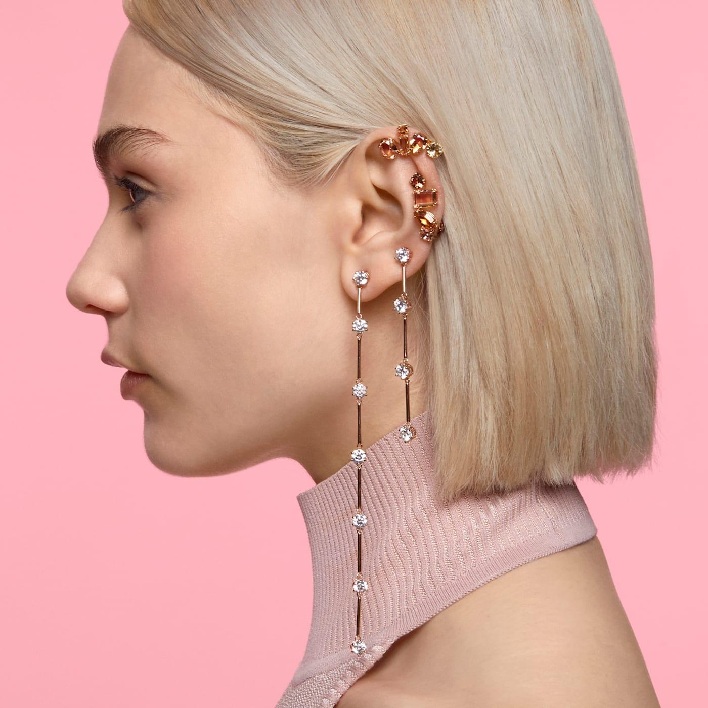 Boucles d'oreilles Constella Asymétrique, Blanc, Métal doré rose, Swarovski