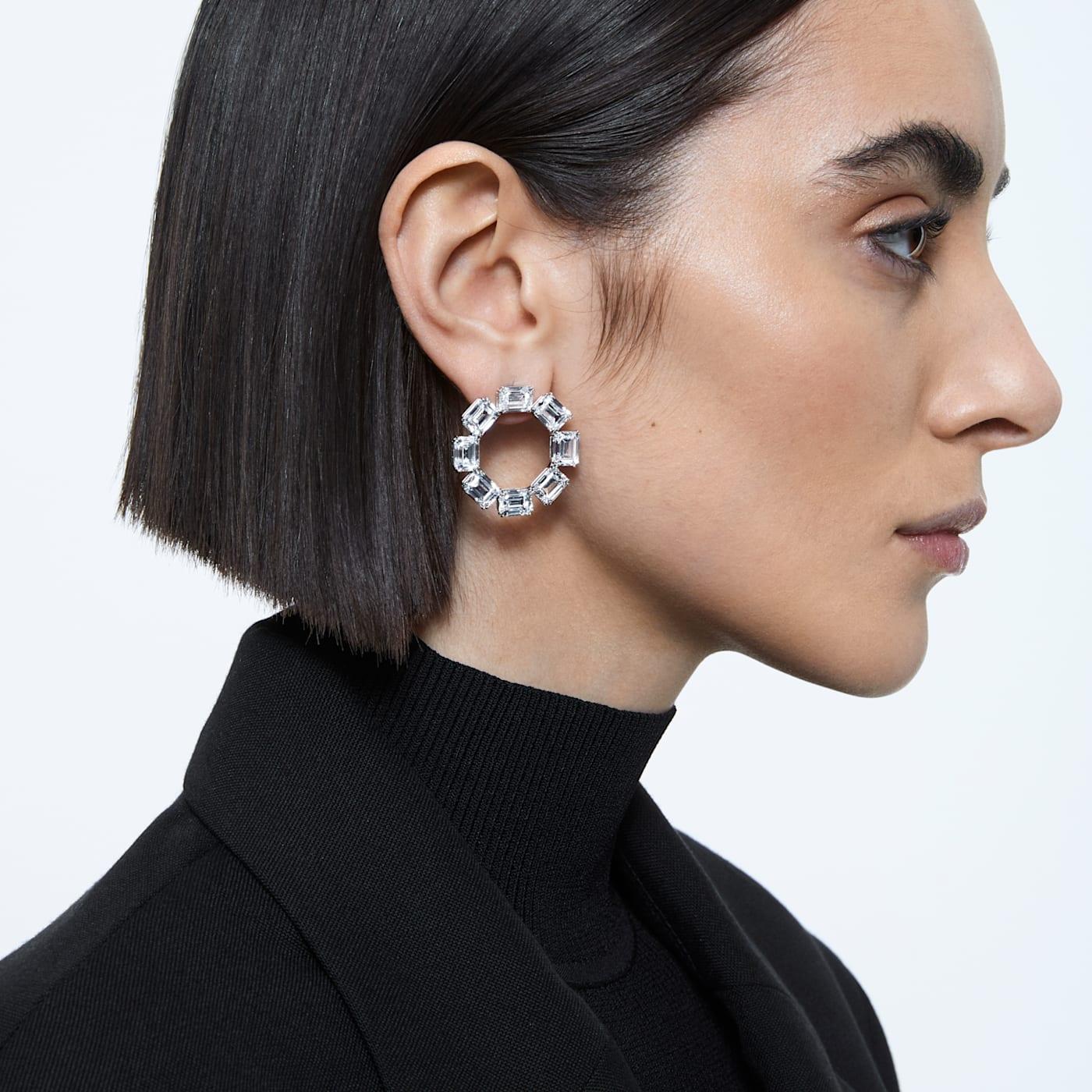 Boucles d'oreilles Millenia Cercle, Blanc, Métal rhodié, Swarovski