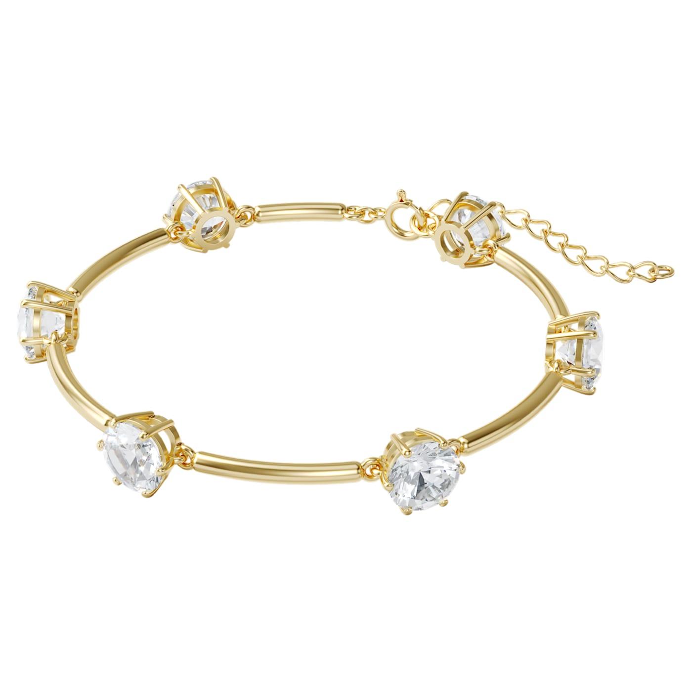 Bracelet Constella Blanc, Métal doré, Swarovski
