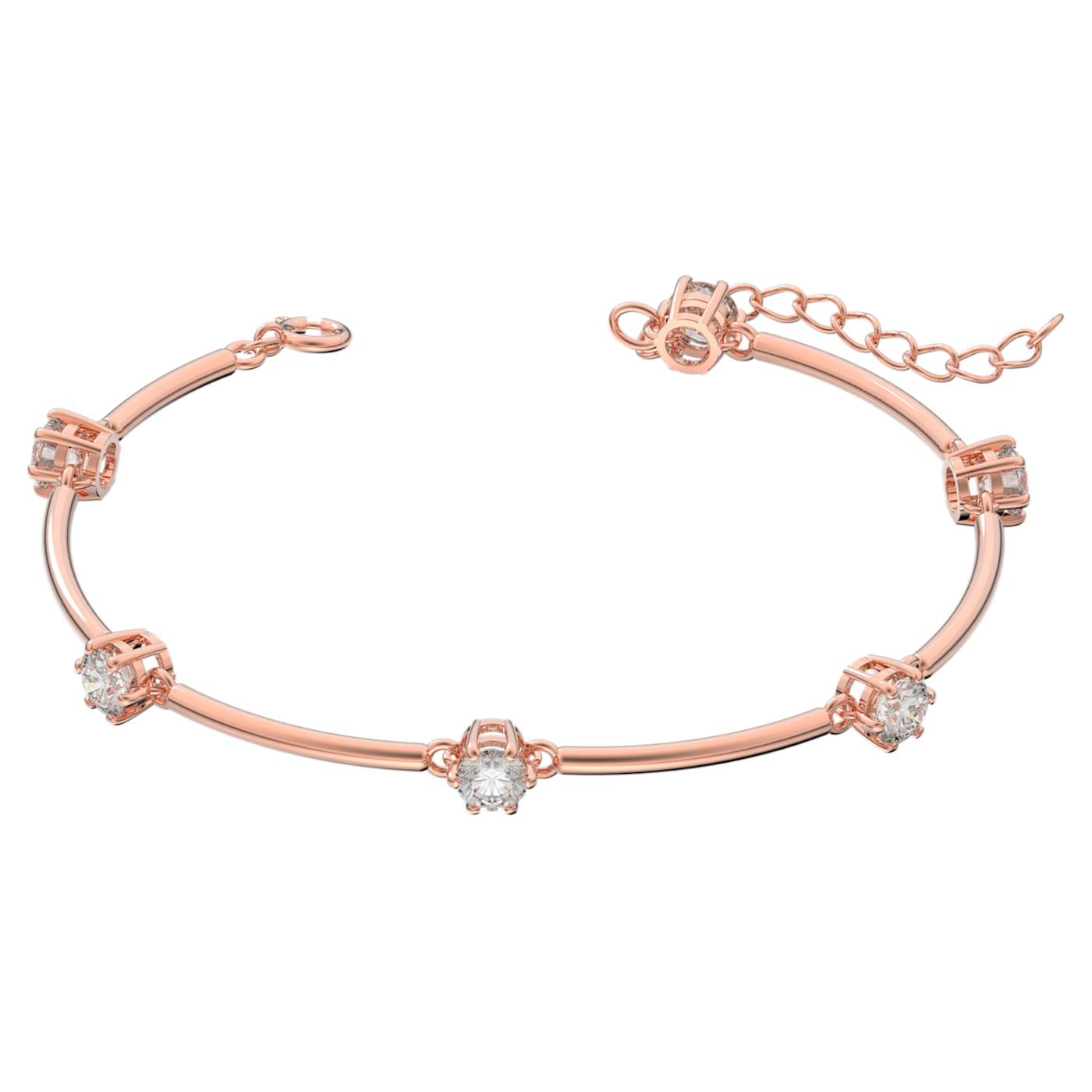Bracelet-jonc Constella Blanc, Métal doré rose