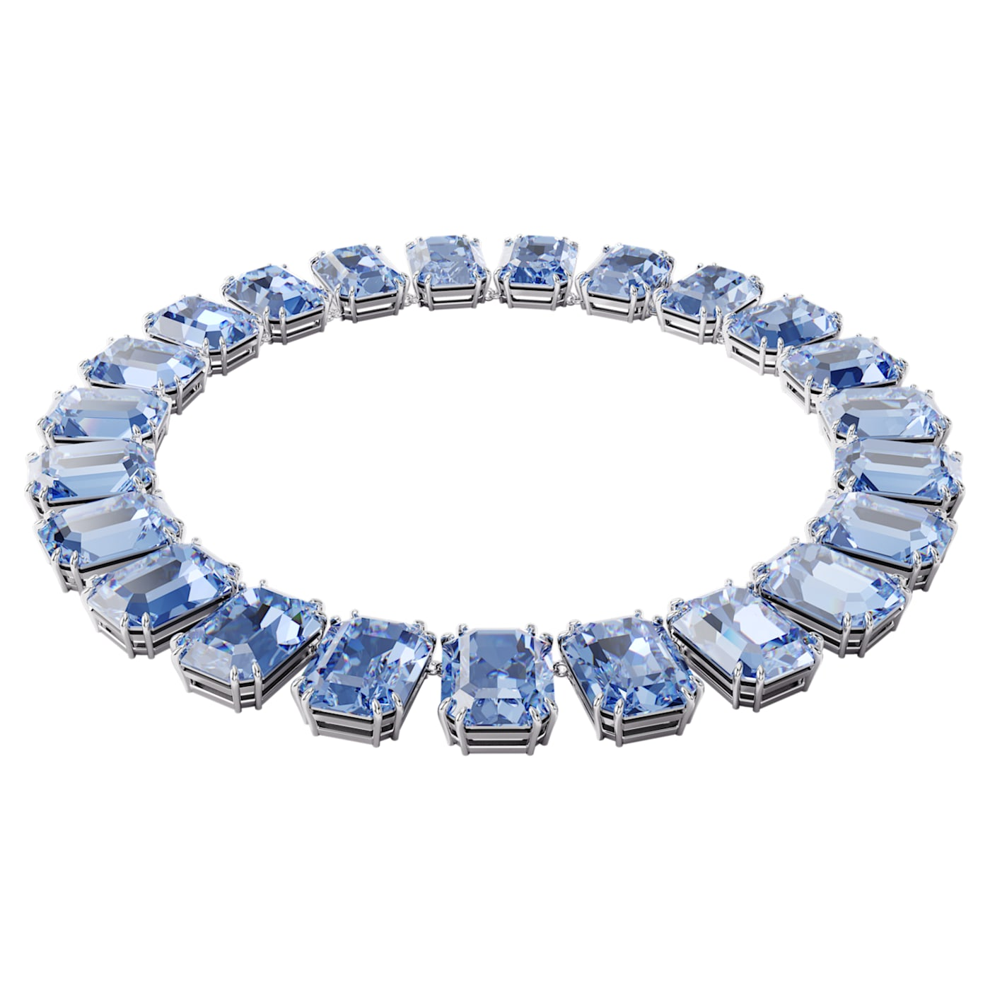 Collier Millenia Cristaux octogonaux, Bleu, Métal rhodié, Swarovski