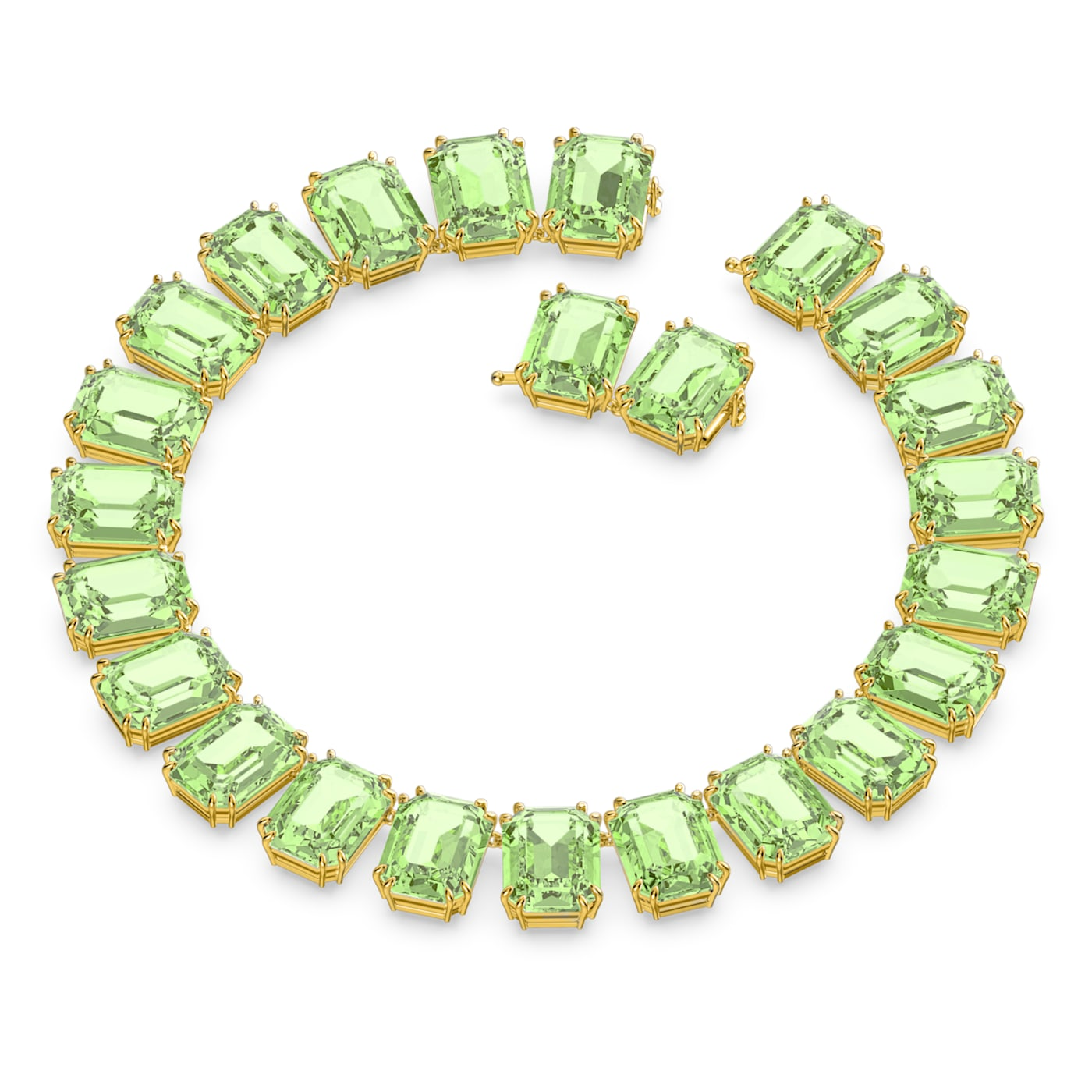 Collier Millenia Cristaux octogonaux, Vert, Métal doré, Swarovski