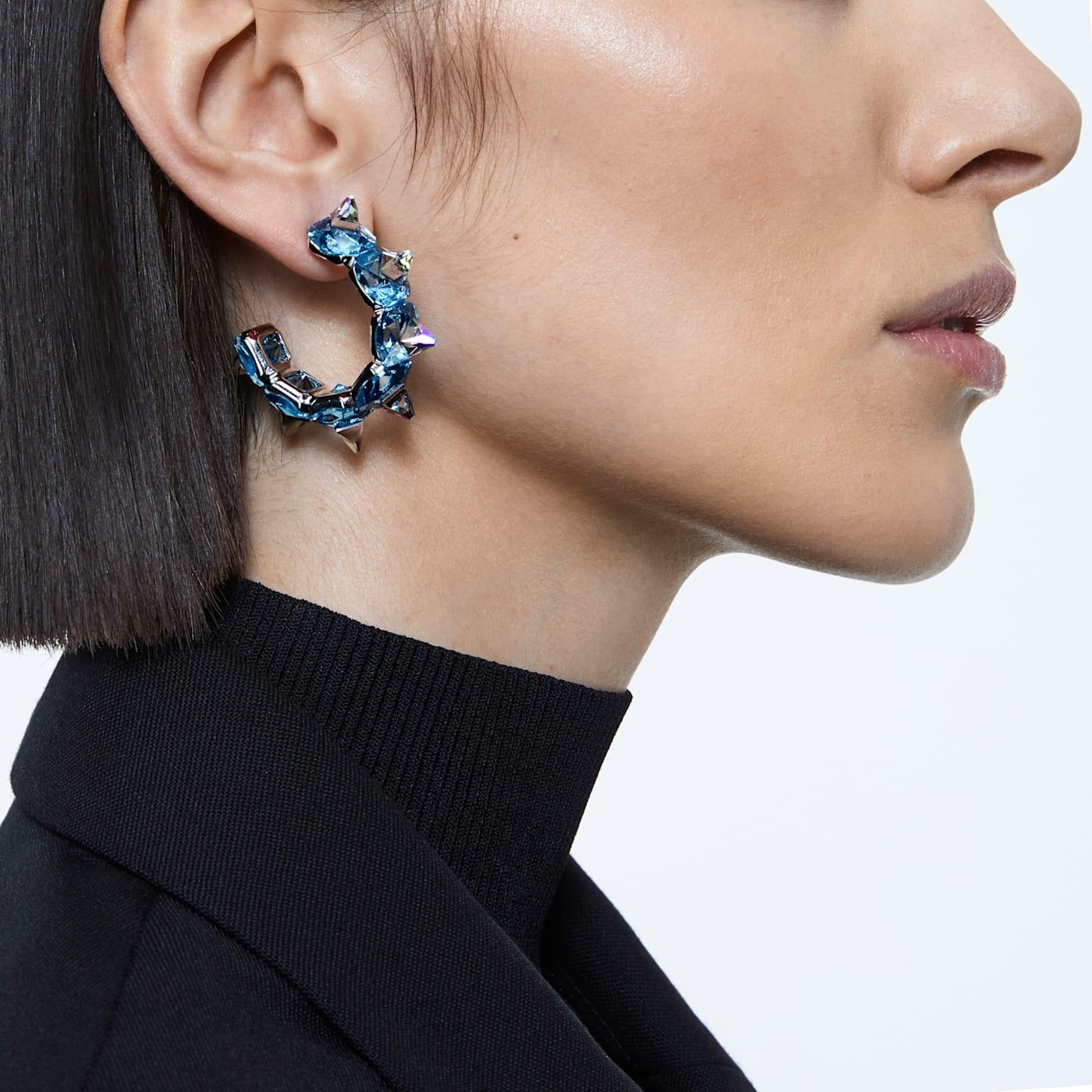 Anneaux d'oreilles Chroma Bleu, Métal rhodié, Swarovski