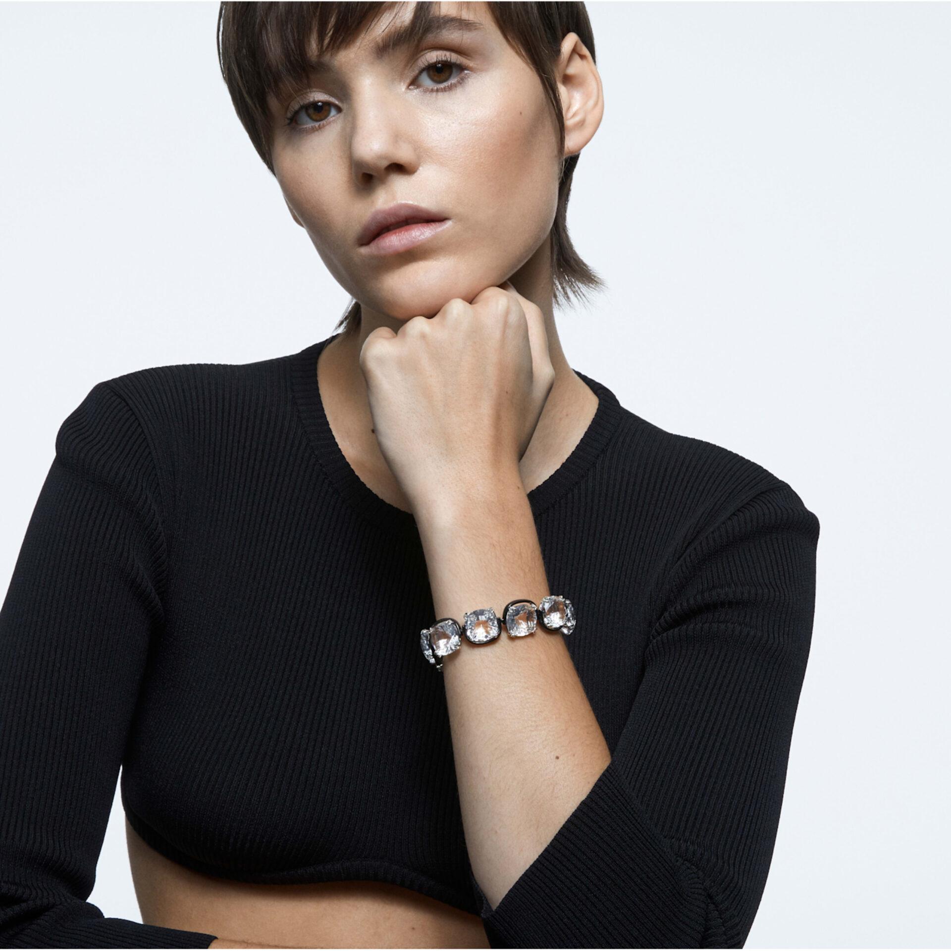 Bracelet Harmonia Cristaux taille coussin, Blanc, Finition mix de métal, Swarovski