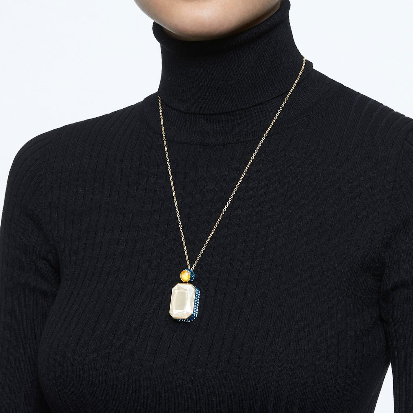 Collier Orbita Cristal taille octogone, Multicolore, Métal doré, Swarovski