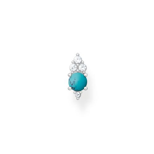 Clou d'oreille unique pierres blanche et turquoise, Thomas Sabo