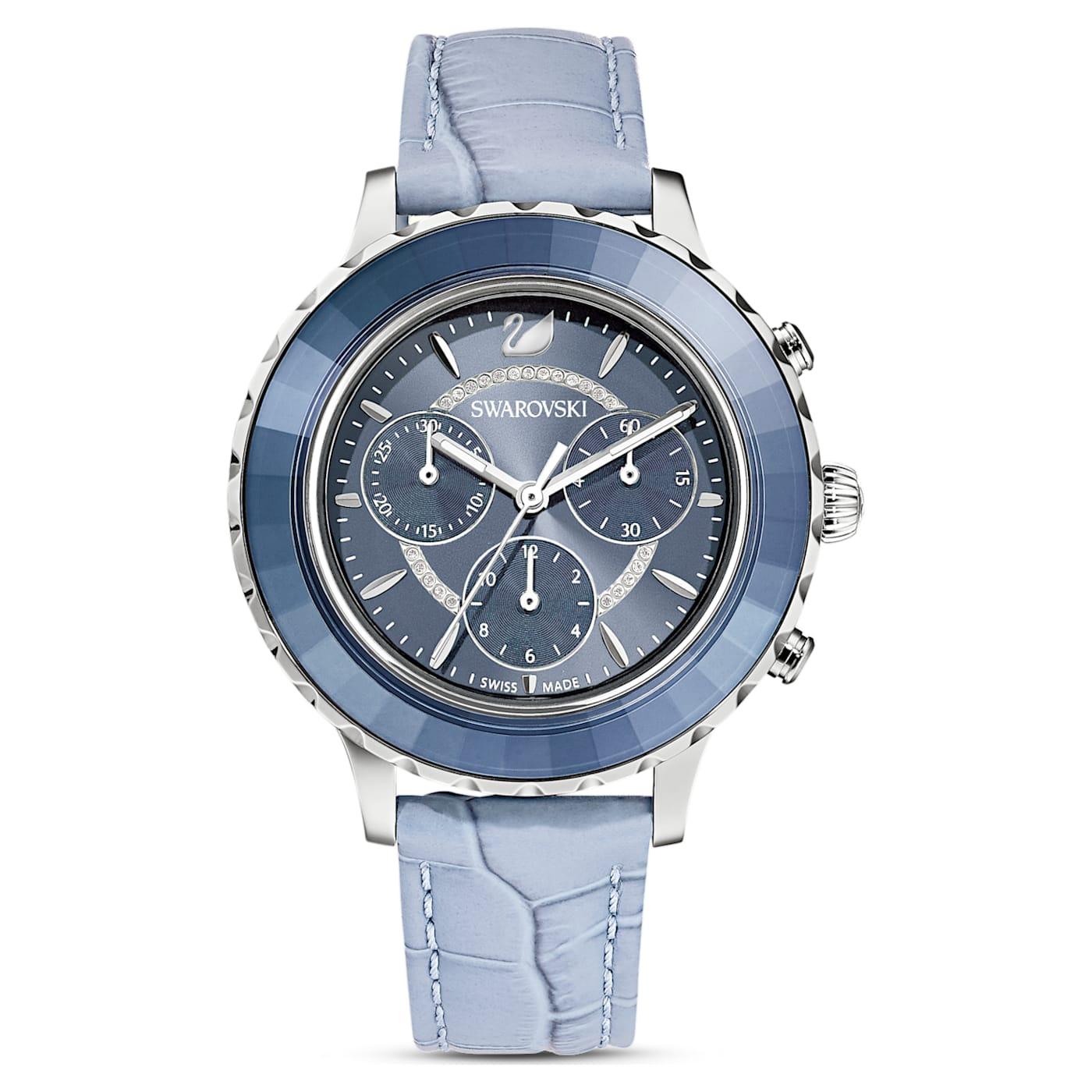 Montre Octea Lux Chrono bracelet en cuir, Bleu, Acier inoxydable, Swarovski