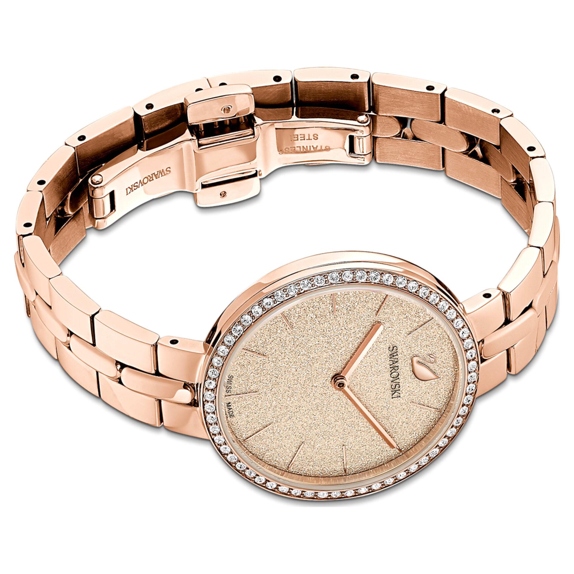 Montre Cosmopolitan Bracelet en métal, Rose, PVD doré rose, Swarovski
