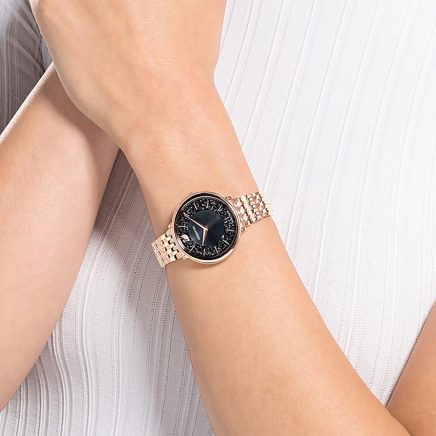 Montre Crystalline Chic Bracelet en métal, Noir, PVD doré rose,Swarovski