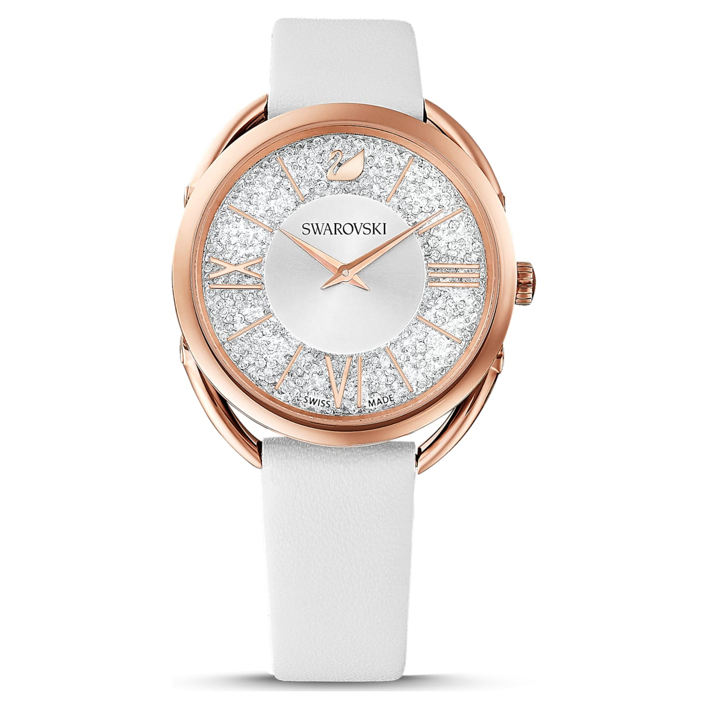 Montre Crystalline Glam bracelet en cuir, Blanc, PVD doré rose, Swarovski
