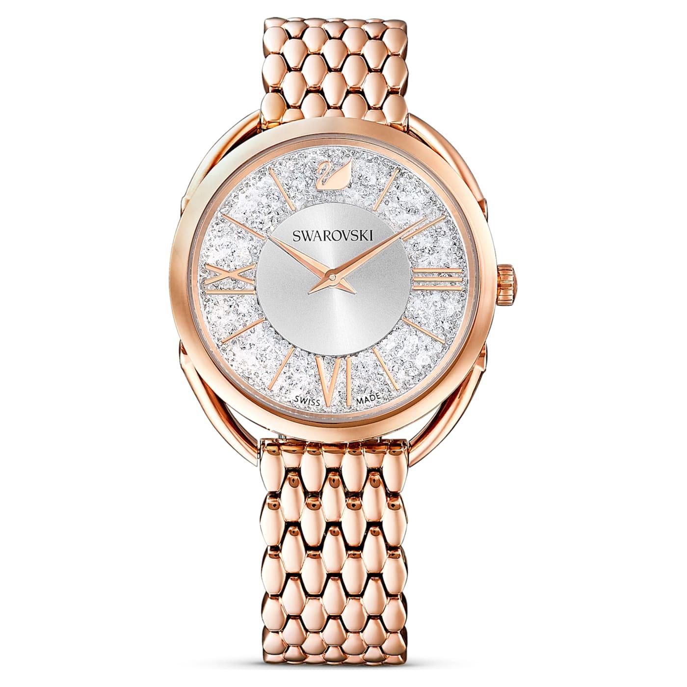 Montre Crystalline Glam Bracelet en métal, Ton or rose, PVD doré rose, Swarovski