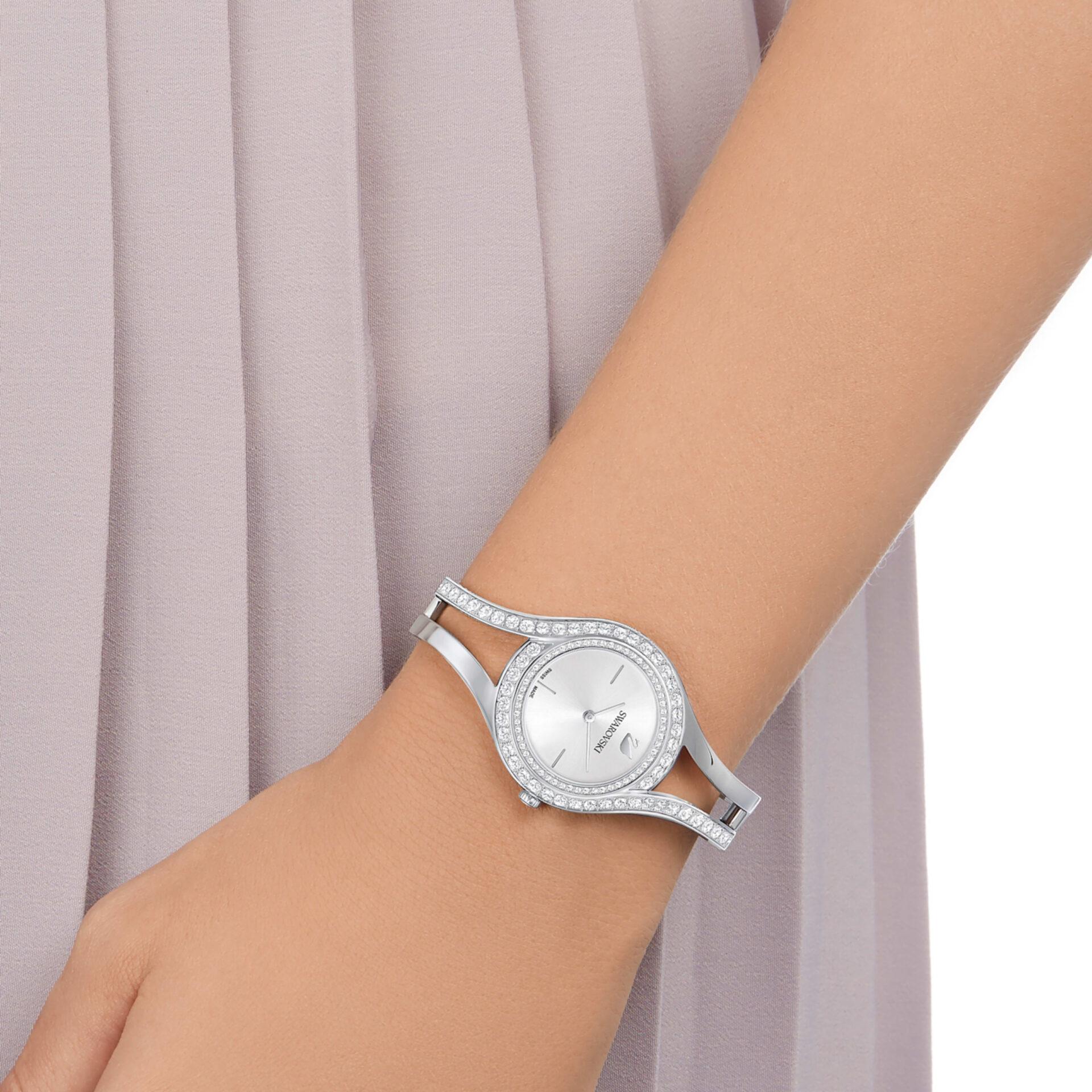 Montre Eternal Bracelet en métal, Ton argenté, Acier, Swarovski
